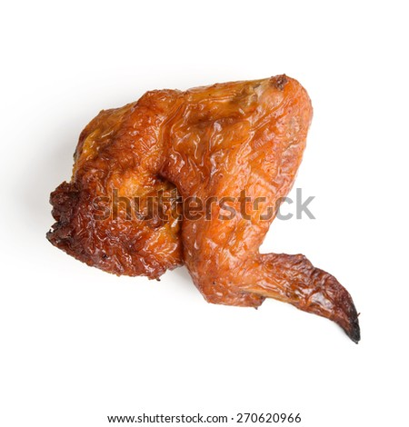smoked chicken wings isolated on white - stock photo