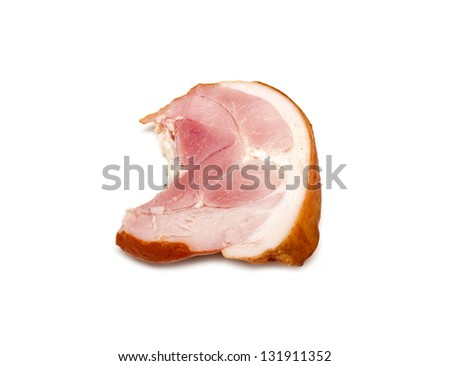 smoked christmas leg ham isolated on white - stock photo