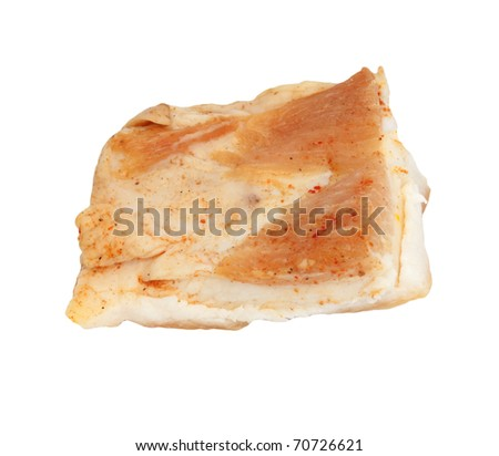 smoked fat on white background
