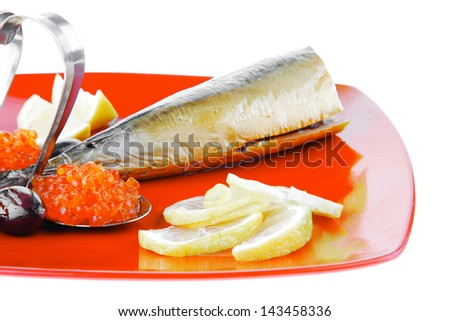 smoked fish with lemon and caviar on red