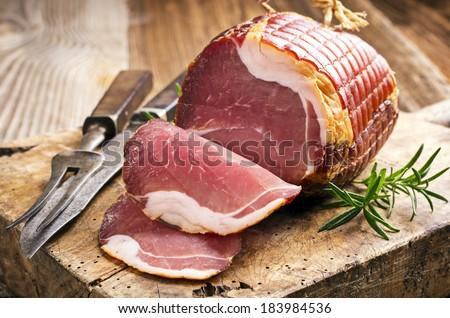 smoked ham - stock photo
