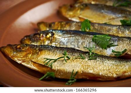 Smoked herring  -home-style. closeup - stock photo