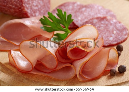 smoked meat and salami - stock photo