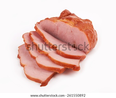 Smoked meat isolated on white background - stock photo