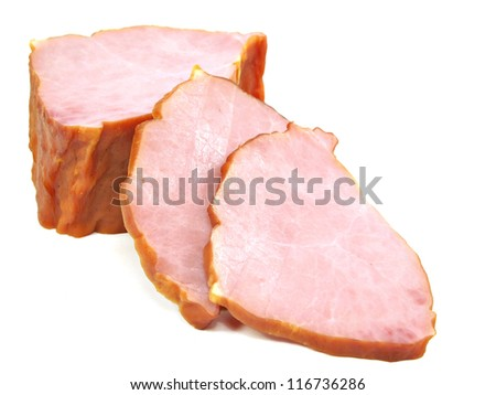 smoked meat on a white background