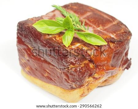 smoked pork with rosemary on white background - stock photo