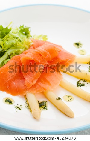 Smoked salmon and asparagus - stock photo