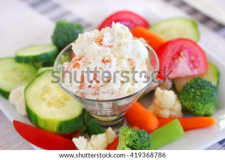 Smoked salmon dip with veggies - stock photo