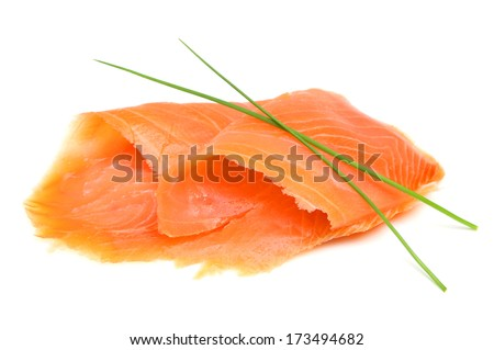 Smoked salmon on white background.