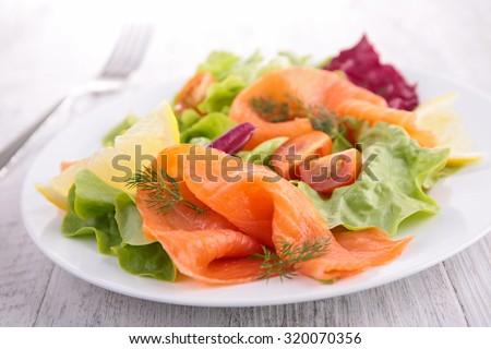 smoked salmon salad - stock photo