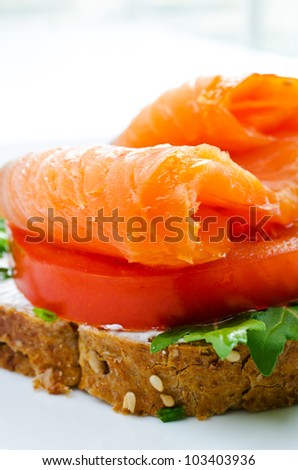 Smoked salmon sandwich with tomato and rye bread close up - stock photo
