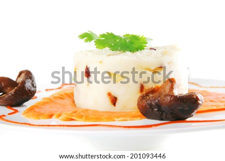 smoked salmon served with mashed potatoes on white - stock photo