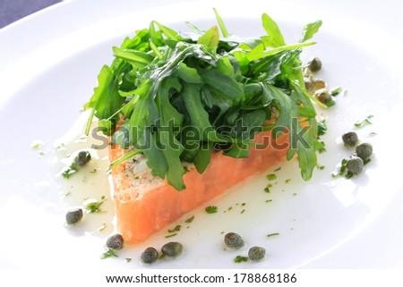 smoked salmon terrine with rocket - stock photo