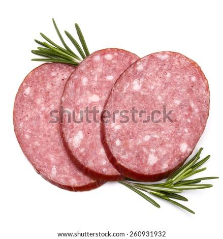Smoked sausage salami slices isolated on white background cutout - stock photo