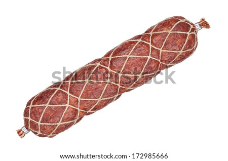 Smoked sausage stick isolated on white background - stock photo