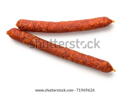 smoked sausages on white background - stock photo