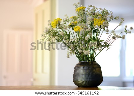 Smokey Glass Vase Flower Display Inside Stock Photo Royalty Free