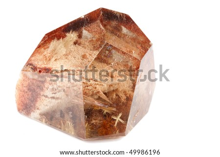 Smokey quartz is a brown to black variety of quartz caused through the natural irradiation of aluminium containing rock crystal - stock photo