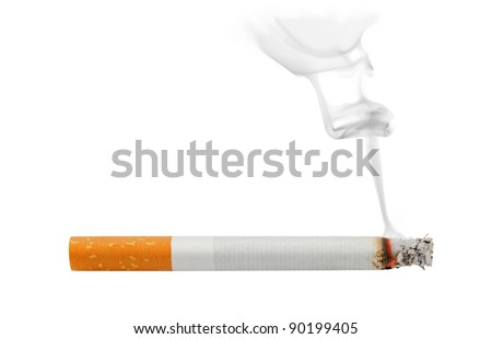 Smoking and burning cigarette isolated on white - stock photo