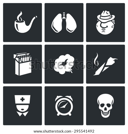 Smoking and effects on the body icons set.  Isolated Flat Icons collection on a black background for design - stock photo