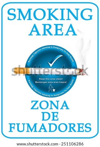 Smoking Area sticker for print. Bilingual (English and Spanish) Label for smokers; contains a realistic lighting cigarette on a blue ashtray. Print colors used - stock photo