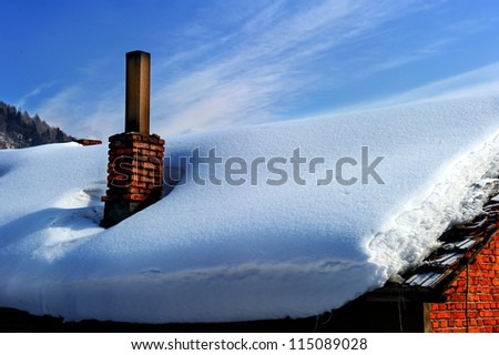 Smoking chimney of Chinese cottage in the winter