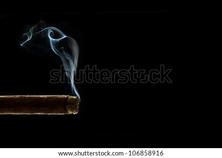 smoking cigar - stock photo