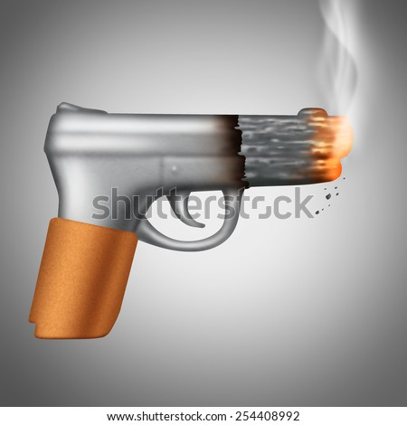 Smoking Cigarette concept as a tobacco product shaped as a lethal handgun or pistol as a health care metaphor and unhealthy symbol for the danger of smoke carcinogens. - stock photo