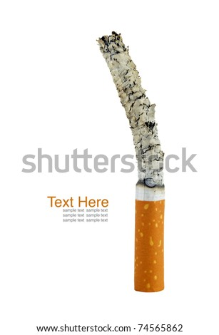 Smoking cigarette. Isolated on white - stock photo