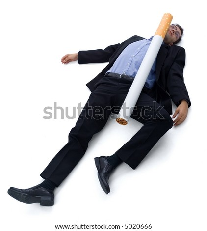 Smoking (cigarette) kills: a guy laying on the ground, he was hit by a big cigarette. Funny illustration of 'smoking kills'.