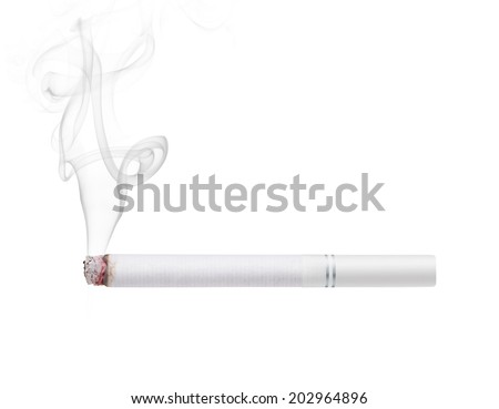 Smoking cigarette with white filter isolated on white background  - stock photo
