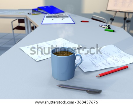 Smoking coffee mug in a business meeting room with documents, a pencil, a ball-point pen, as well as some ring binders and a flipchart in background - stock photo
