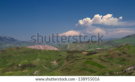 Smoking Etna as seen from Petralia Soprana, Sicily, Italy