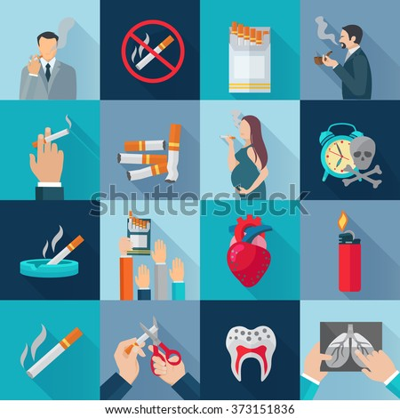 Smoking Flat Icons Set - stock photo