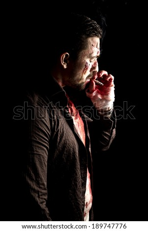 smoking gangster with gun