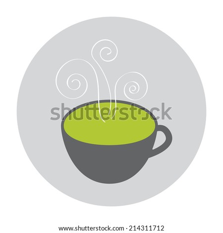 Smoking Green Tea icon - stock photo