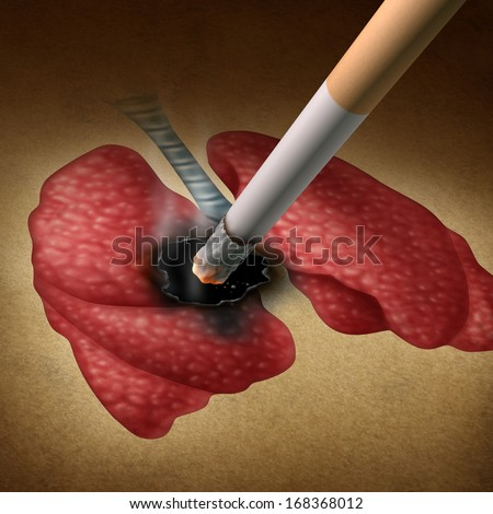 Smoking health effects concept as a cigarette burning a hole into human lungs as a medical metaphor for lung cancer and tumor growth from toxic smoke exposure from a smoker or secondhand fumes. - stock photo