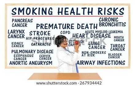 Smoking Health Risks Whiteboard: Premature Death, Lung, Kidney, Larynx, Pancreas, Cervix, Stomach, Esophagus, Bladder Cancer, Pulmonary Disease, Heart Disease, Non-smokers Risk - stock photo