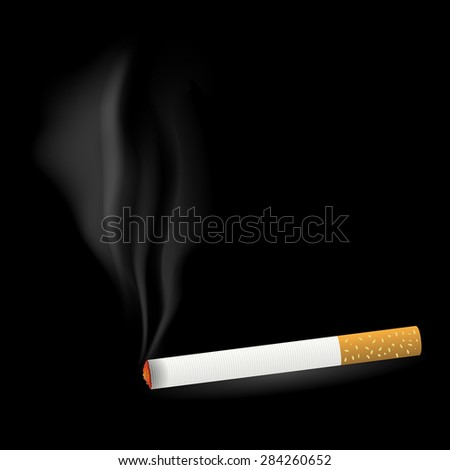 Smoking Single Cigarette Isolated on Black Background - stock photo