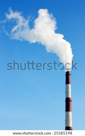 Smoking stack of thermal power station - stock photo