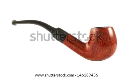 Smoking tobacco pipe isolated over white background, side view - stock photo
