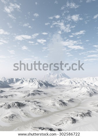 Smoking volcano in a snowy mountain range on a clear winter day, 3d digitally rendered illustration - stock photo