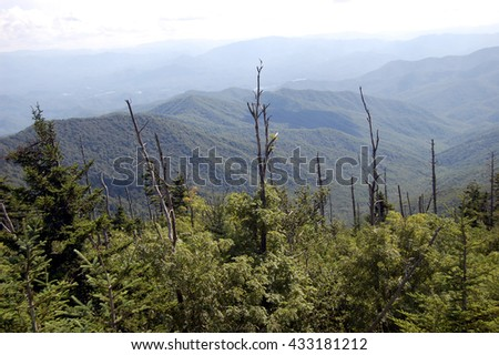 Smoky Mountains panorama from Clingmans Dome, in Great Smoky Mountains National Park, Tennessee - stock photo