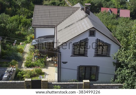 Smolensk, Russia - September 02, 2013 - stylish house with garden, view from the top