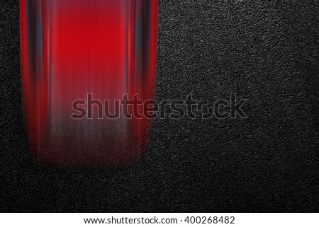 Smooth asphalt road and moving with high speed a red car. The texture of the tarmac, top view. - stock photo