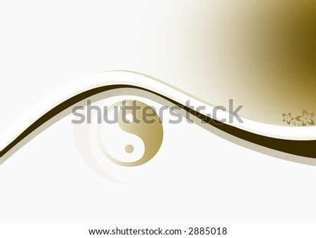 Smooth background with Yin & Yang symbol and curves.