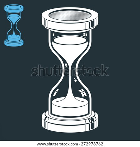 Smooth detailed sand-glass. Old-fashioned classic 3d hourglass with pour sand isolated on dark background. Time without end conceptual icon, includes invert version. Web design element. - stock photo