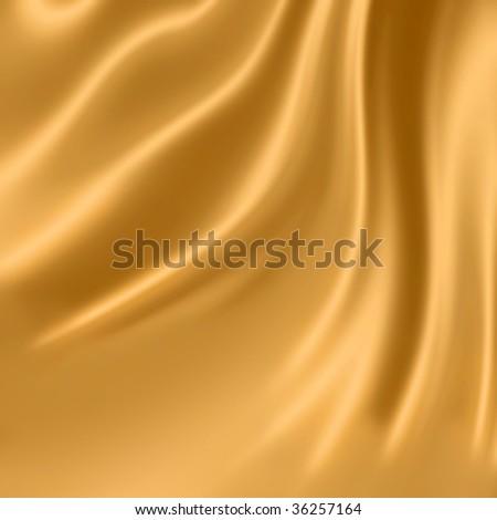 Smooth elegant gold silk fabric - stock photo