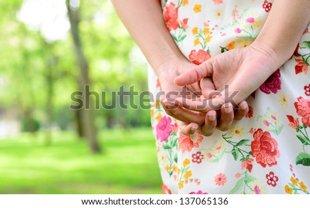 Smooth female hands close up detail. Skin care and sense of touch concept. - stock photo