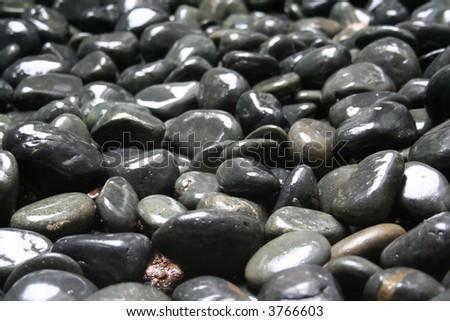 Smooth glossy grey pebbles asian zen garden - stock photo